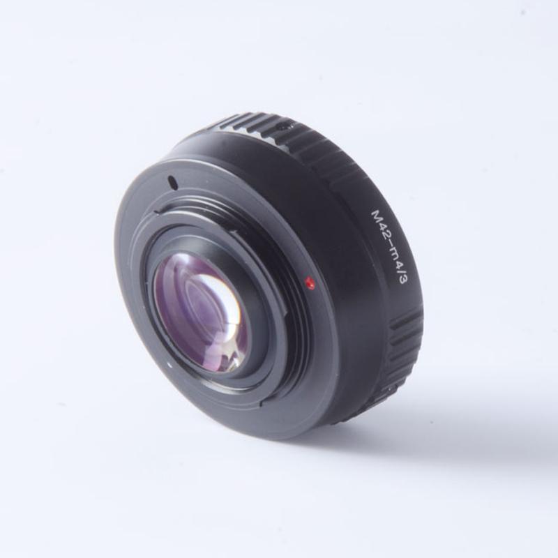 Prix pour Focal Réducteur Vitesse Booster Turbo Adaptateur pour M42 Monture à caméra M4/3 mft GH4 GF6 GX1 GX7 EM5 EM1 E-PL5 BMPCC