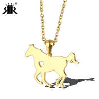 RIR Horse Pendant Necklace Stainless Steel Gold Racing Pony Pet Horse Rider Charm Necklace For Equestrian Jewelry Gift