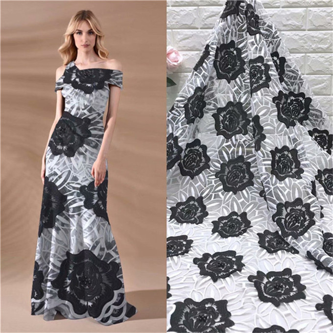 2019 Latest Black white French Africa Lace Fabric High Quality African Embroidered Tulle Lace Fabric For