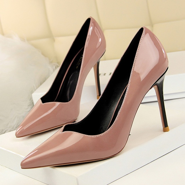 cf6790c64f55 Classic pumps 2018 women shoes pink Stylish quilted high heel 9cm lacquer  leather shallow pointy professional OL sexy skinny