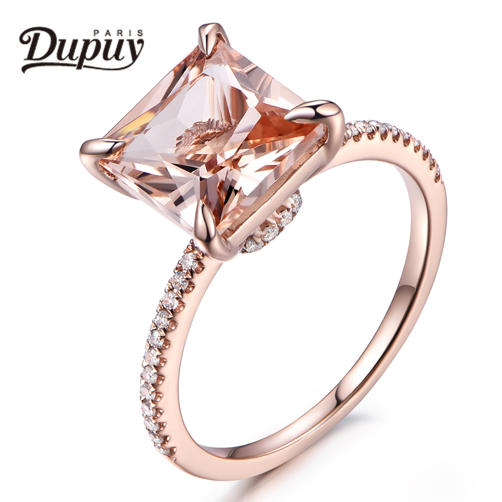 Engagement Rings On Sale Newcastle: DUPUY 2018 Hot Sale Princess Cut 8mm Morganite Diamonds