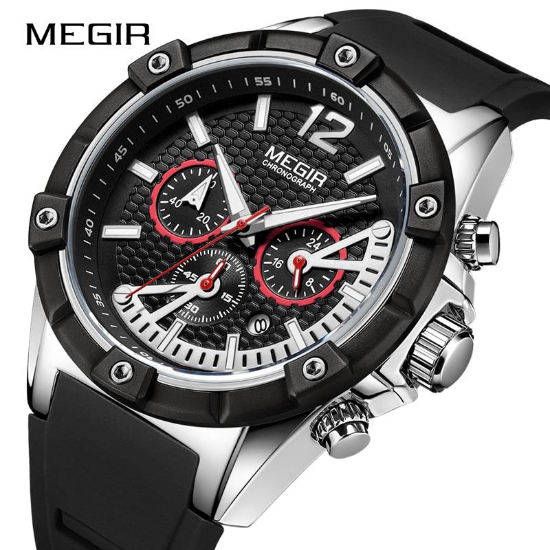 Top Brand MEGIR Men's Creative Fashion Sports Watches Silicone Waterproof Clock 24Hour Men Quartz Wrist Watch Relogio Masculino цена в Москве и Питере
