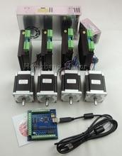 CNC USB 4 Achse kit 3-ACHSEN-KIT ST-M5045 (ersetzen 2M542) fahrer + mach3 usb controller 100 KHz + 4 stücke nema23 unzen-in motor + netzteil