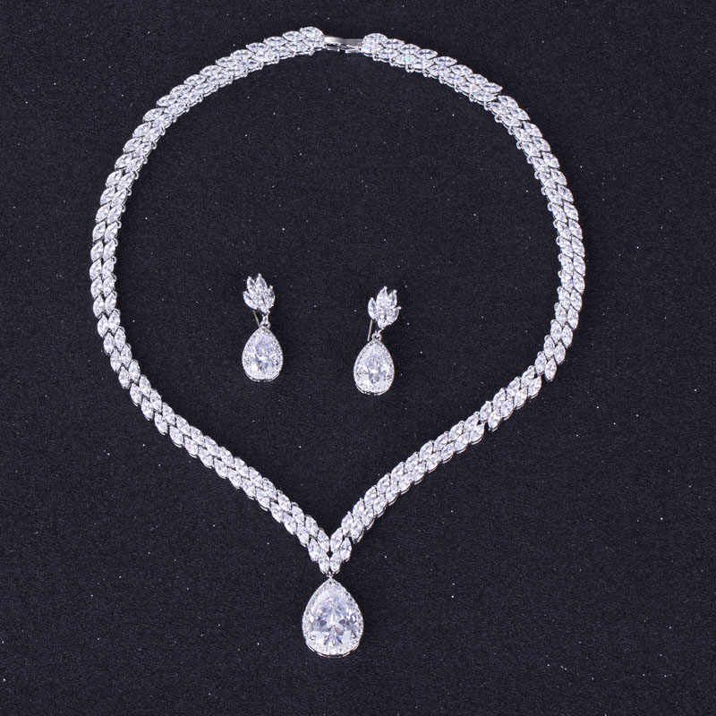 44979fcd4f2 Luxury Bridal Fashion Drop Cubic Zirconia Necklace and Earring Wedding  Jewelry Set For Women