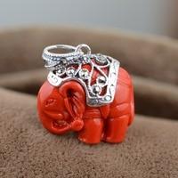 Cinnabar Elephant Pendant S925 silver inlaid SILVER BRACELET HANDMADE pendant accessories wholesale new