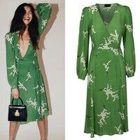 Sexy Green Long Sleeve Dark V Neck Dresses Women Painted Floral Print Wrap Long Dress Summer Holiday Silk Beach Dress