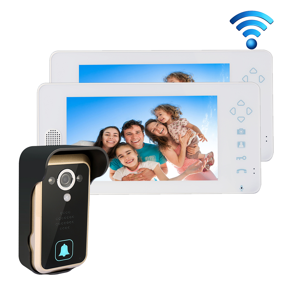 Free Shipping 2.4GHZ Wireless 7 Touch Color TFT LCD Video Door Phone Intercom 1 Outdoor Bell Camera + 2 White Screen In Stock