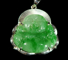 Free shipping Jew3115 Dold Grade A Natural Certificate Jadeite Buddha Pendant Necklace(China)