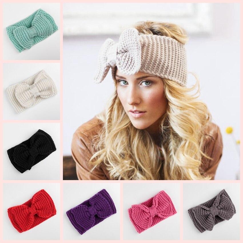 Moda de lana de oreja invierno crochet diadema para las mujeres banda - Ropa de bebé