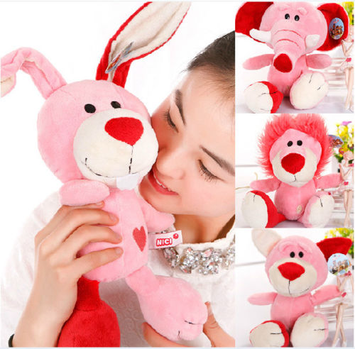Nici Plush Toy Stuffed Doll Pink Concept Poker Bear Lion Rabbit Elephant Lover Couples Christmas Birthday Gift 1pc Free Shipping