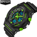 SANDA Luxury Brand Men Sports Watches Dual Display silicone Shock Resistant Wristwatches Outdoor Casual Waterproof Watch 2017