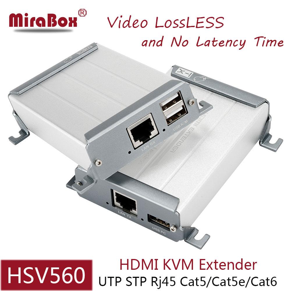 Mirabox 80m HDMI KVM Extender USB Transmitter font b and b font Receiver 1080p Over UTP