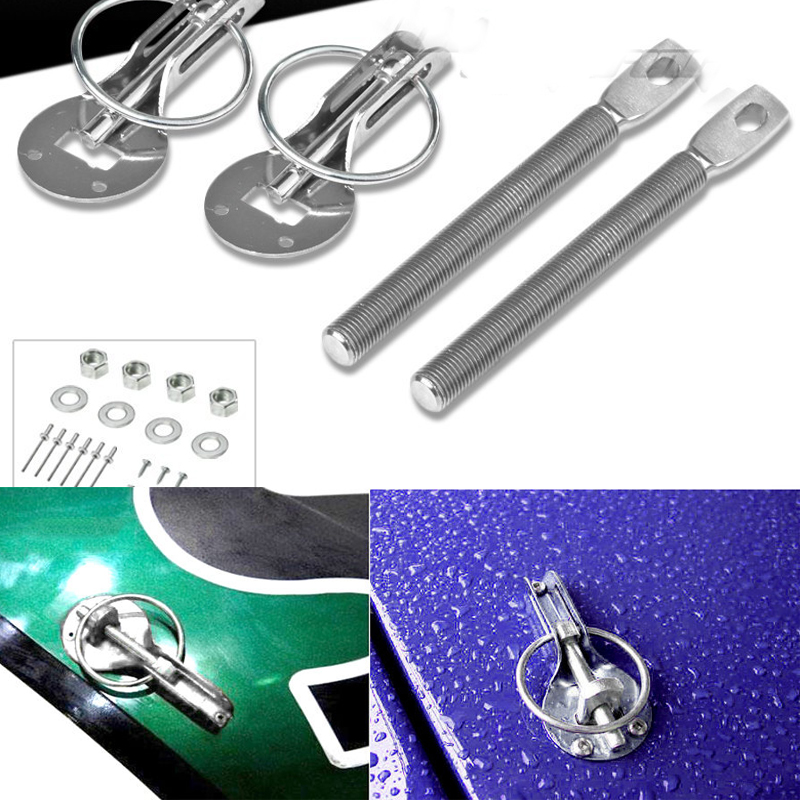 Muscle Car Chrome Plated Steel Locking Style Hood Pin Kit
