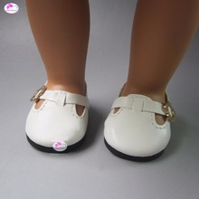 one pair white font b toy b font doll leather shoes for 18 inch 45cm American