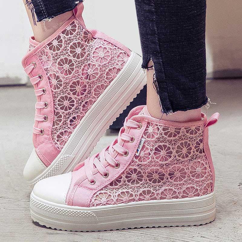 Moda Mujer Alta Cuñas Para pink Plataforma Zapatillas Zapatos Aumentan white Transpirable Señoras Casuales Mujeres De Black Las Top Malla rrqAwxP