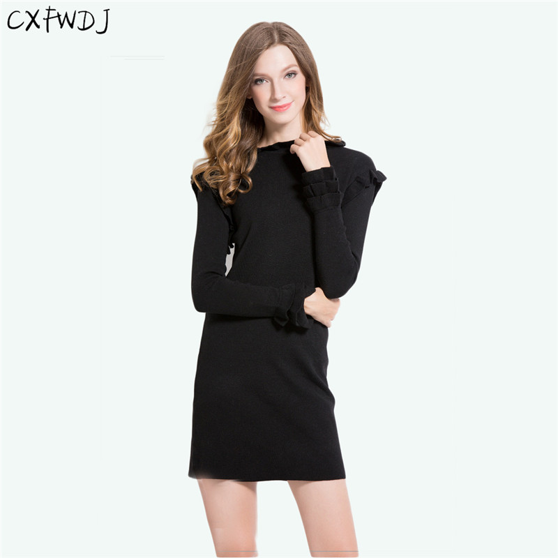 Women s Lotus Collar Collar Long Section Core Yarn Sweater Solid Color Knitted Dress Red Black
