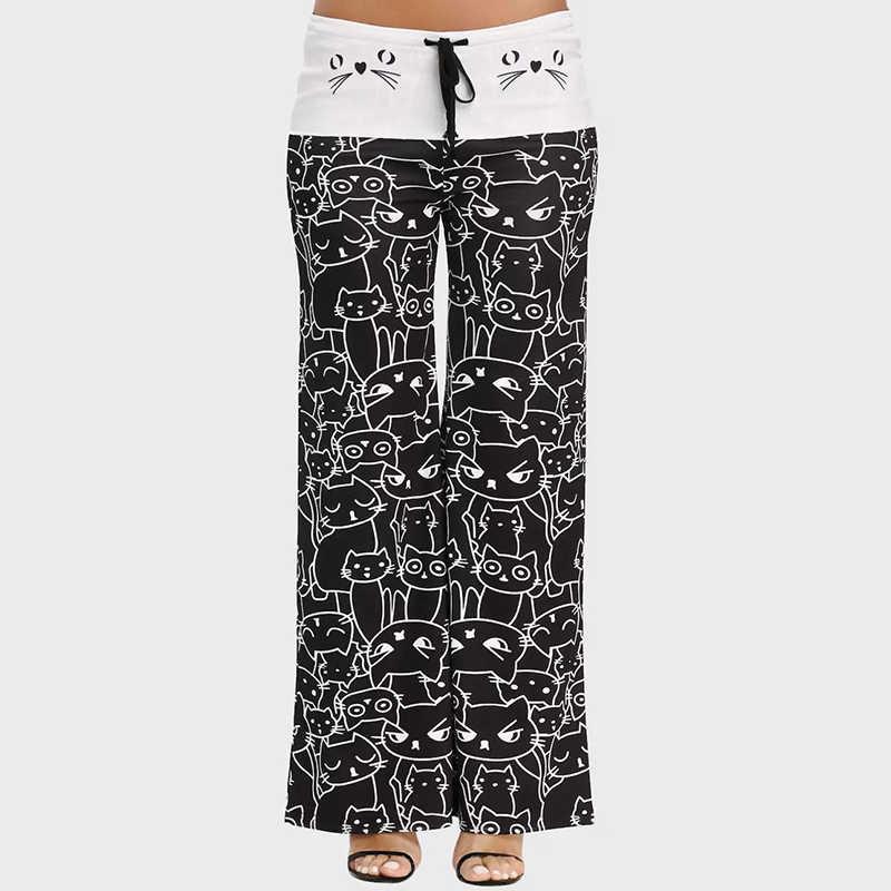 Women Casual Loose Print Pants Cartoon Cat Lace-Up Long Length High Waist Drawstring Flare Pants for Ladies White Black 6Q1174