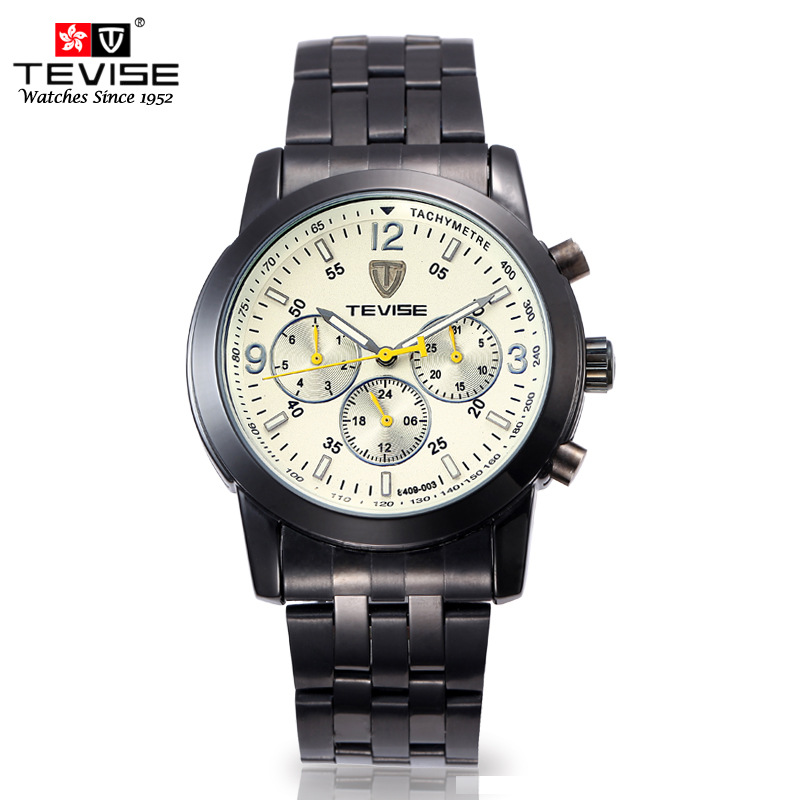 2016 Men Tungsten Mechanical Watch TEVISE Brand Men's Top Quality Watch Bussiness Stainless Steel Band Watch Waterproof