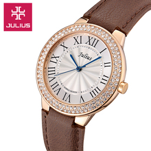 Top Julius Lady Women's Wrist Watch Business Elegant Rhinestone Rome Fashion Hours Dress Bracelet Leather Girl Christmas Gift