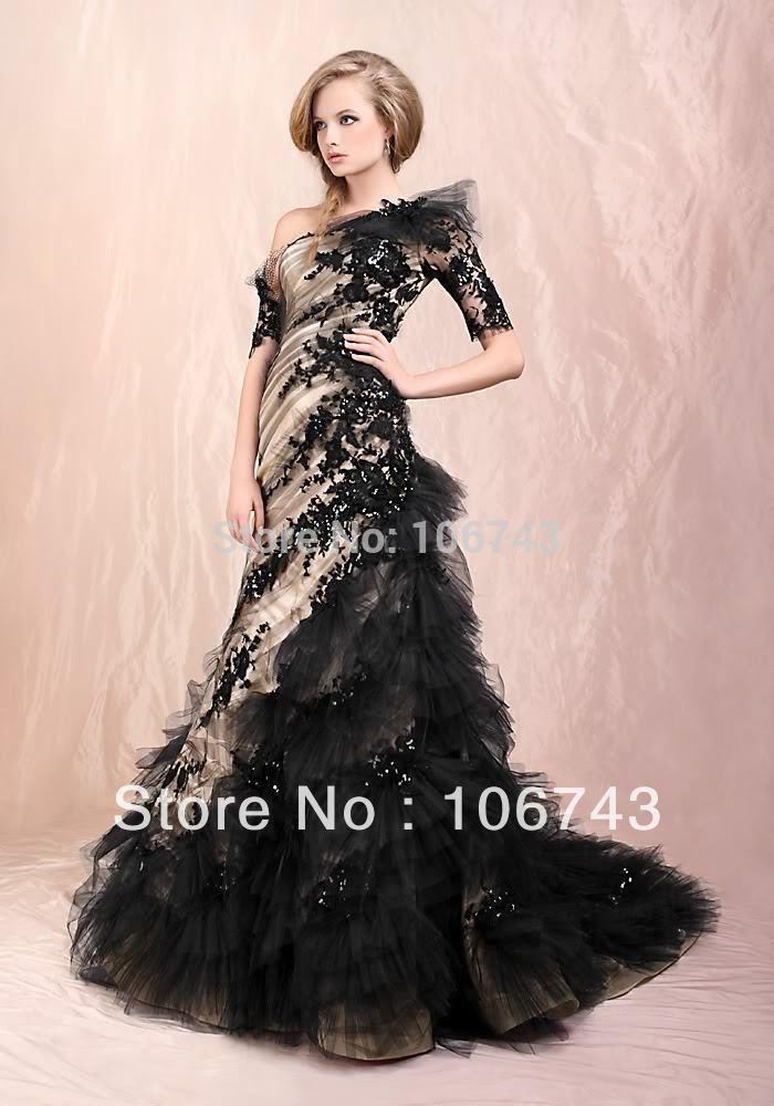 Trasporto libero 2015 caldo del merletto di nuovo disegno caldo personalizzata manica corta una spalla della sirena quinceanera nero prom dresses formal gown