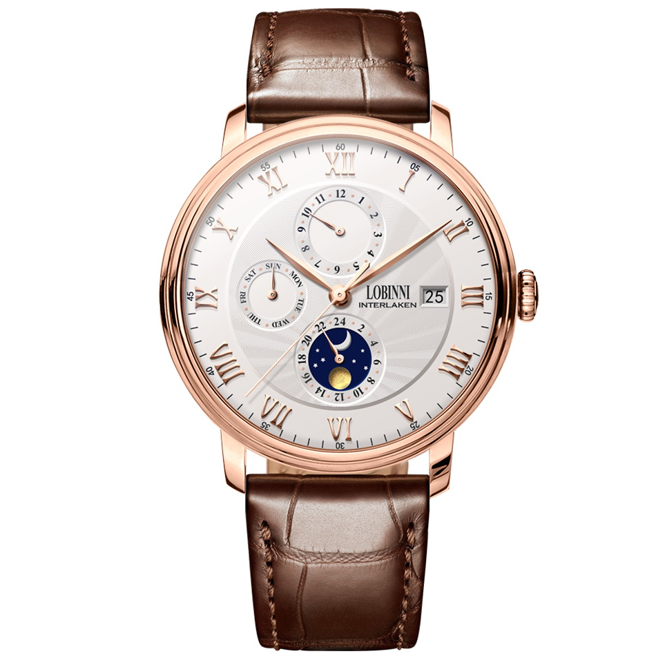 LOBINNI Men Business 50M Waterproof Dress Multifuction Automatic Mechanical Wristwatch With Month,Date,Night Day,Week - Rosegold