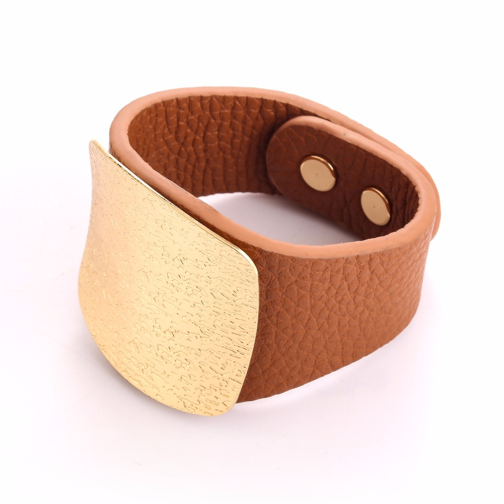 GrayBirds New Fashion PU Bracelet With Copper Geometric Square Plated For Punk Girls YSB0001