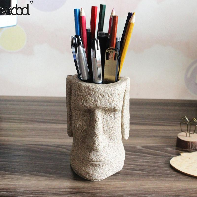 VODOOL Easter Moya Stone Pen Holder 3D Stone Portrait Pencil Holder Office Desktop Storage Box Organizer School Stationery чехол samsung s view для galaxy s6 белый ef cg920pwegru