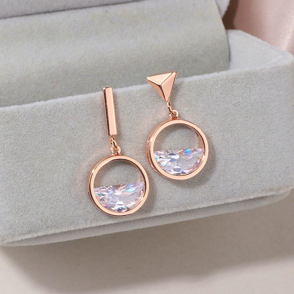 2018 New Design Asymmetric Earrings For Women Geometric Shape Rose Gold Color Crystal Drop Earrings Female Jewelry Gift  WX109|Drop Earrings|   - AliExpress