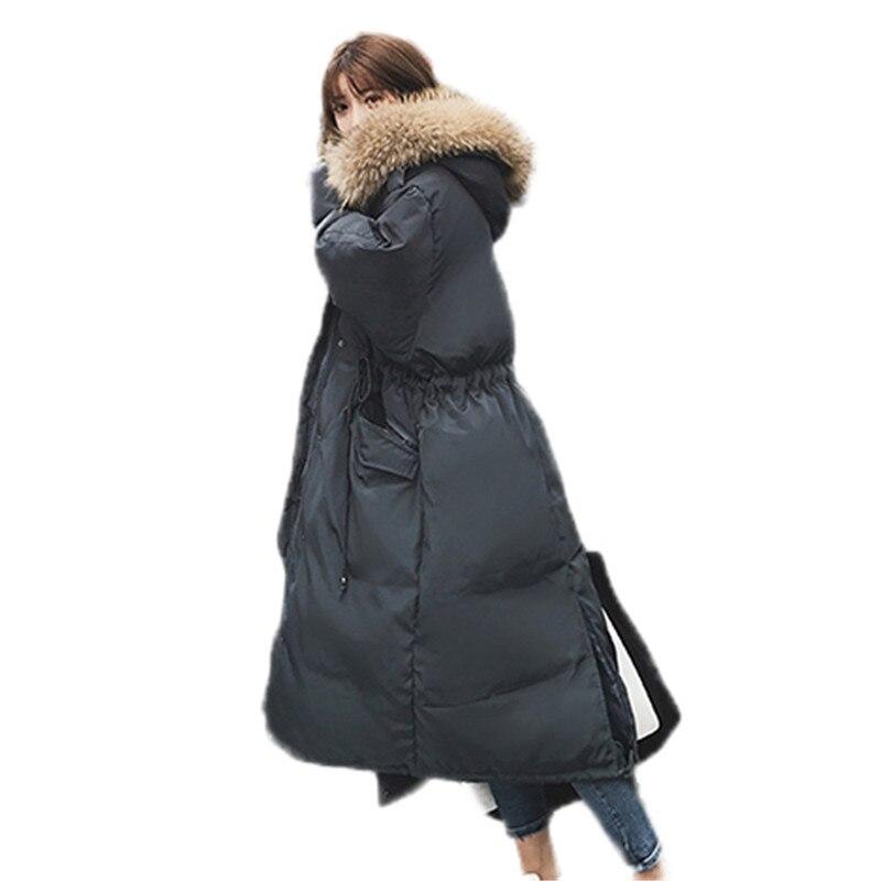 2018 nouveau femmes veste hiver femme manteau Long chaud survêtement grand col de fourrure vers le bas coton pardessus femmes manteaux grande taille Parkas