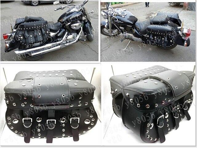 e862cd0a6af7 Black Rivet Side Bag Saddle Bags For Honda Yamaha Suzuki Kawasaki Harley  Bobber Custom Chopper Cruisers