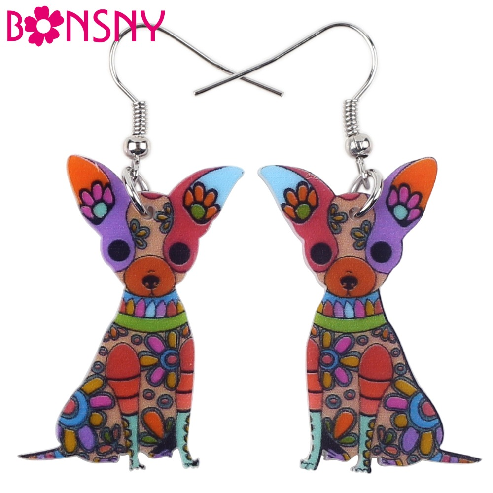Bonsny Fashion Big Long Animal Acrylic Dangle Drop Chihuahua Dog Earrings 2016 News Style