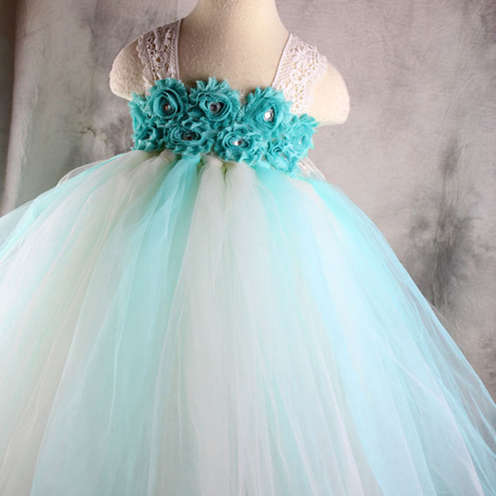 Aqua Beige Flower Girl Tutu Dress For Wedding Birthday Party Kids