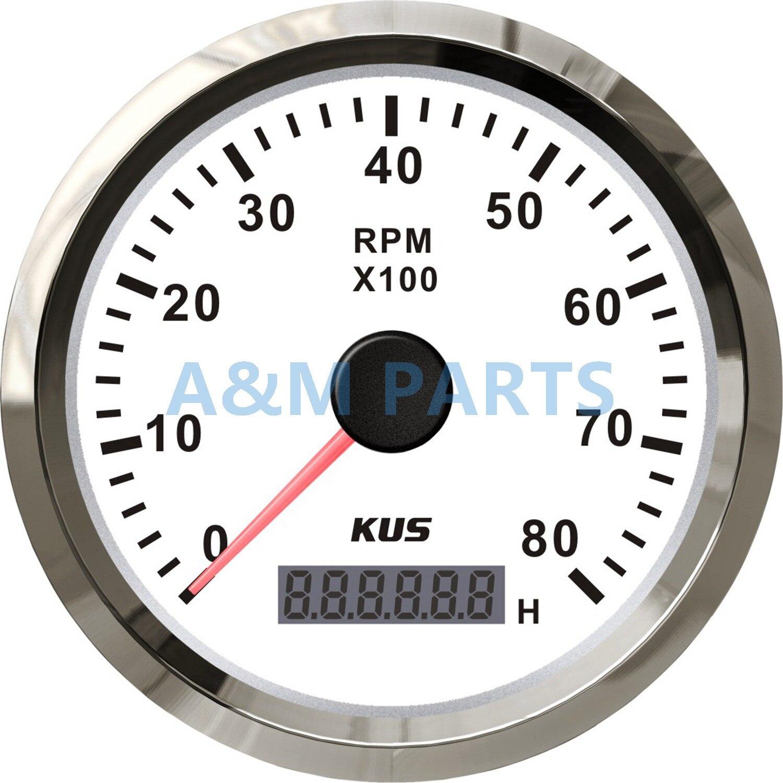 KUS Marine Tachometer Gauge LED Hourmeter Boat RPM Tachometer 12V 24V 8000RPM