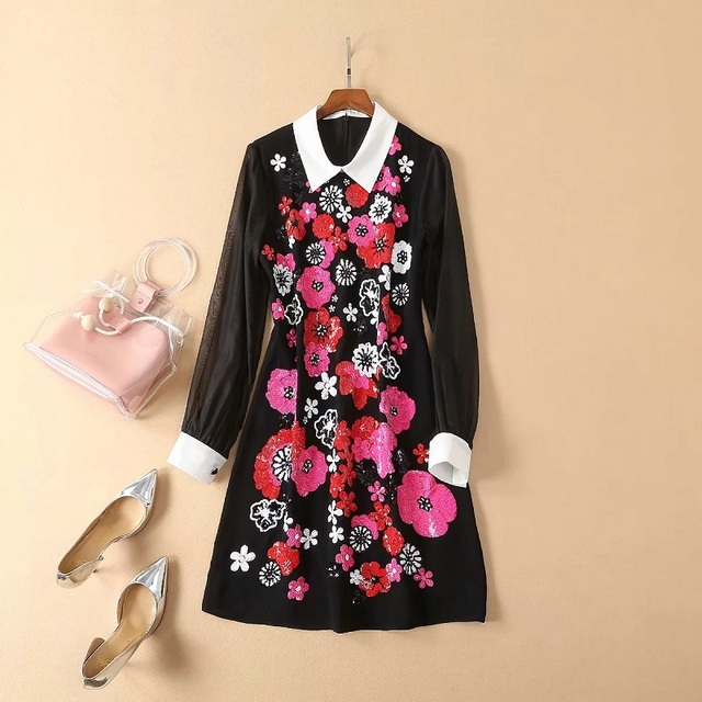 Top Grade New Celebrity Inspired Women's Dress Turn-down Collar Sequined Embroidery Beading Long Sleeve Black Dress Vestidos