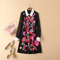 Top Grade New Celebrity Inspired Women's Dress Turn down Collar Sequined Embroidery Beading Long Sleeve Black Dress Vestidos