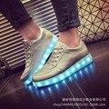 2016 venta caliente niños niños luz de neón led mate de plata que brilla intensamente colorido shoes con zapatillas de deporte casuales tamaño 35-44 tq6076