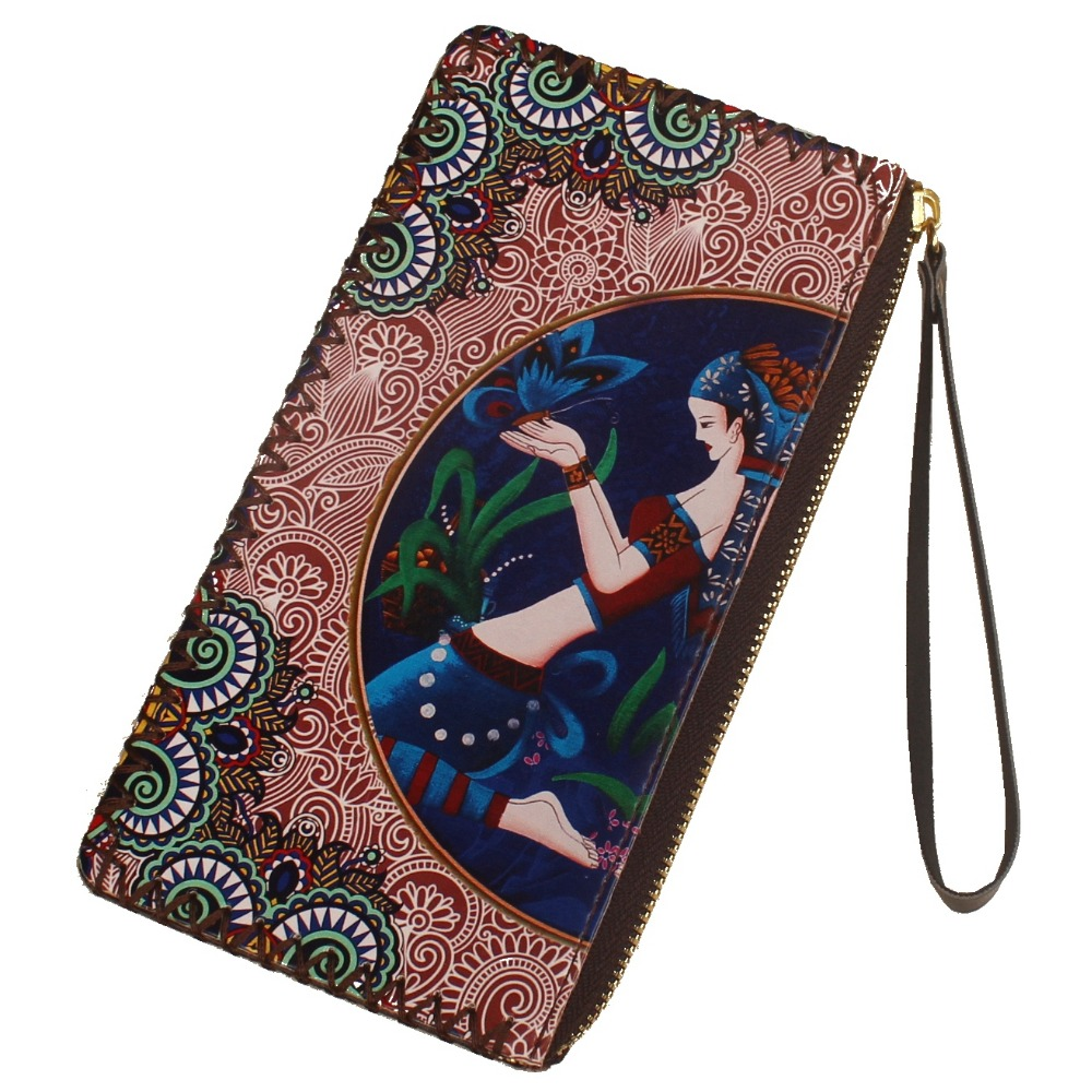 Zipper Small Purse Wallets Womens Canvas Coin Case Cellphone Clutch Purse With Wrist Strap Insects On Black Pattern