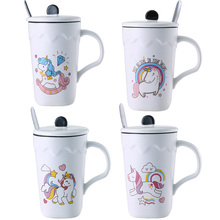 Fashion Creative Unicorn Mug Ceramic Coffee Cup Breakfast Milk Tea Heat -Resistant with Lid Spoon for Best  Gift