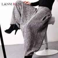 LANMREM2018 Autumn And Autumn New Korean Tide Linen Loose Large Size Natural Waist Harem Ankle length Pants Woman E100202
