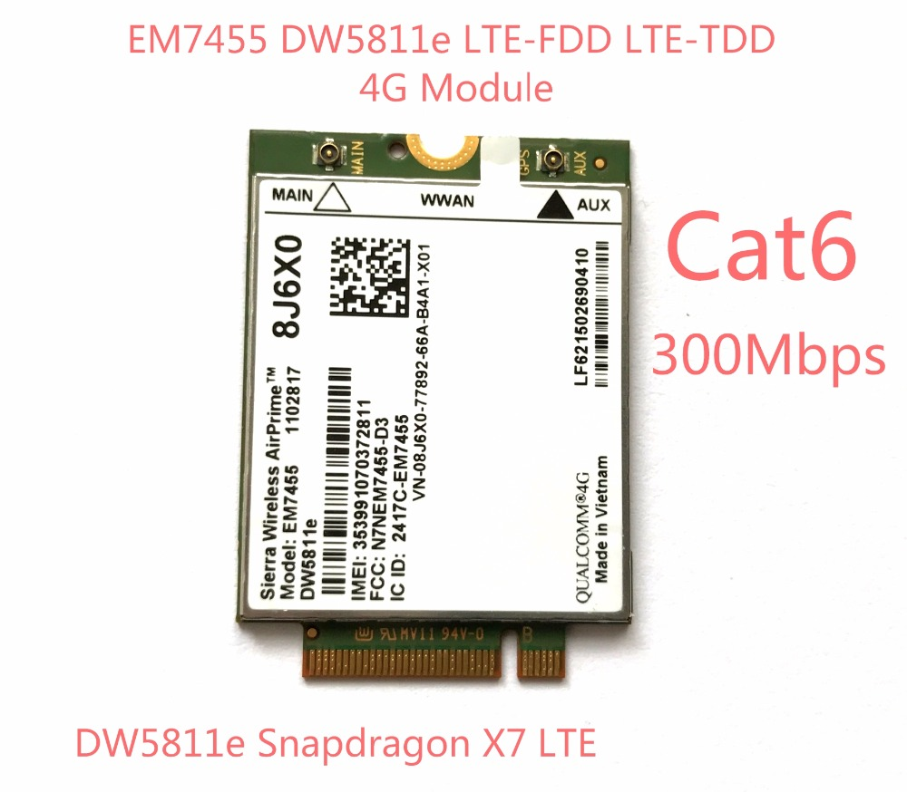 Nova EM7455 DW5811E PN 8J6X0 FDD/TDD LTE CAT6 4G Módulo 4G Cartão para E7270 E7470 E7370 e5570 E5470 Precisão 7720 7520 3520 7510