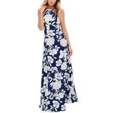 Mujeres largo maxi dress halter cuello mangas de la impresión floral de boho holiday dress