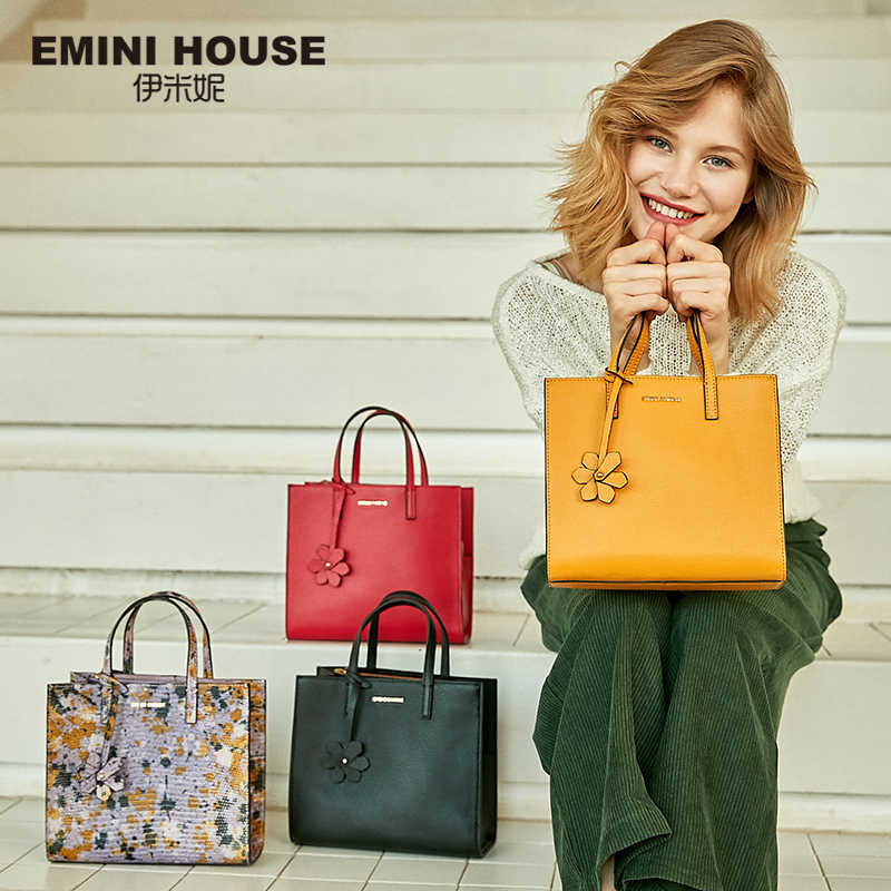 EMINI HOUSE Genuine Leather Handbag with Flower Pendant Saffiano Luxury Handbags Women Bags Designer Crossbody Bags For Women