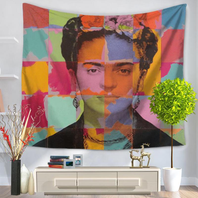 New Wall Art Hanging Flowers Frida Kahlo Tapestry Frida Fabric Decoration Wall Hanging Tapestry Yoga Beach Sitting Blanket