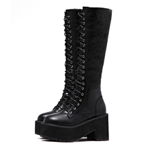 Women's Lace Up Knee High Boots Fashion Chunky Heel Boots Punk Style Women High Boots Side Zipper Tall Boot Footwear