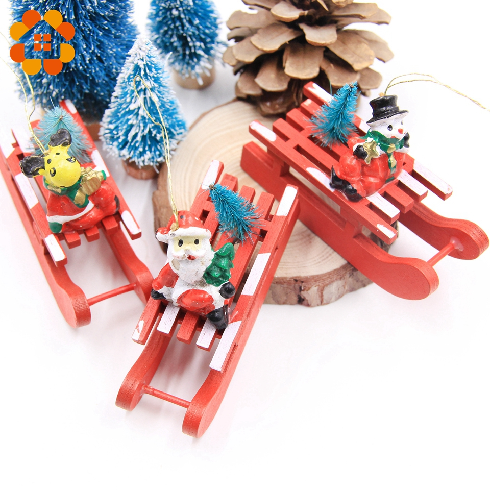 3pcslot Wooden Sled Diy Creative Christmas Series Pendants Decoration Wood Crafts Christmas Ornaments Party Home Decor Supplies In Pendant Drop