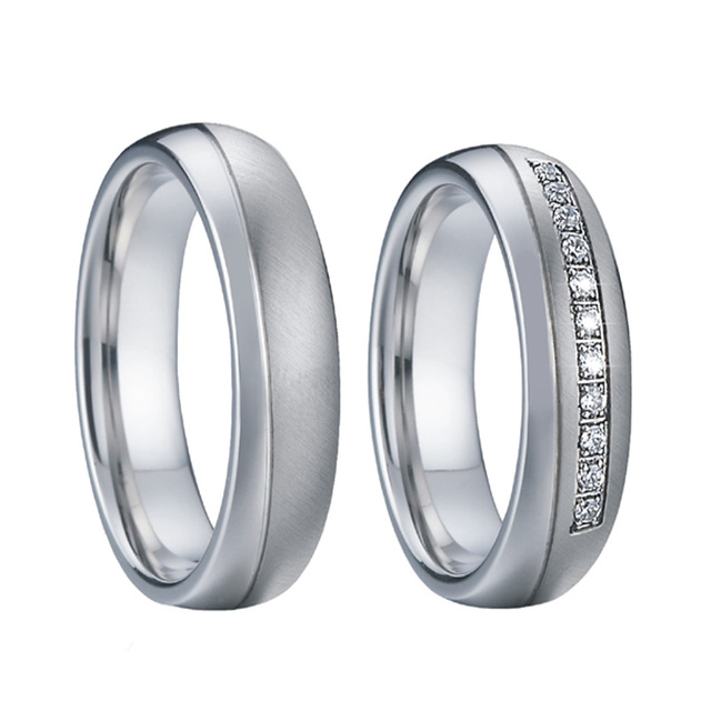 Men's Wedding Band Male Rings female Silver Color anillos mujer bague femme Couple Alliance Engagement Rings for women