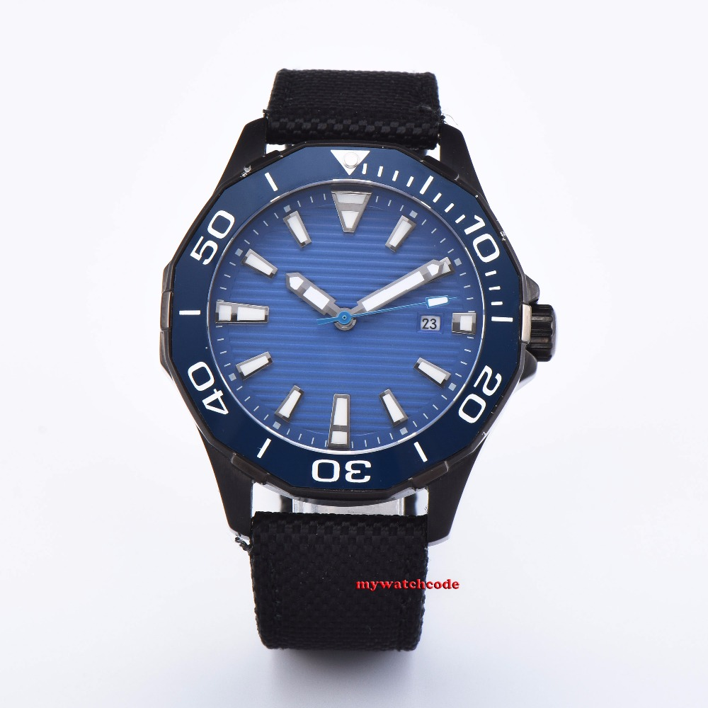 new arrive 45mm planca blue dial Sapphire glass Ceramic bezel black PVD case miyota 8215 automatic mens watchnew arrive 45mm planca blue dial Sapphire glass Ceramic bezel black PVD case miyota 8215 automatic mens watch