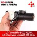 Mini hd de 1/3 sony ccd 700tvl effio-e d-bala wdr 2.8-12mm lens cctv box câmera de segurança para 960 h dvr cctv