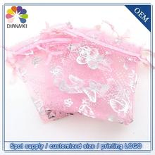 Brand New 100pcs/lot 7x9cm Pink Butterfly Jewelry Organza Bags Christmas Gift Bags Tulle Gift Packaging Bags Gift Wrap