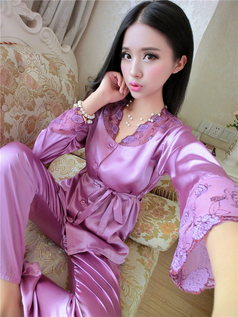 Venta caliente Ladis Pijama De Satén de Seda Bordado Conjunto Pijama Conjunto Manga larga Pijama Set Primavera Otoño Sleeepwear Home Use For mujeres